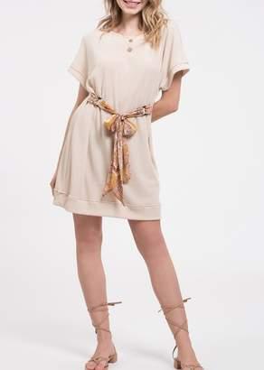 Blu Pepper Short Sleeve Knit Paisley Print Sash Dress