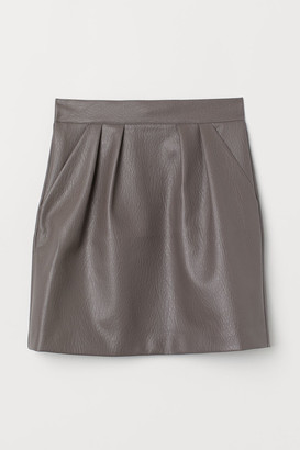 H&M Faux Leather Skirt - Beige