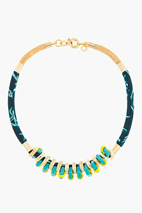 Marc by Marc Jacobs Aqua and gold woven bolt necklace