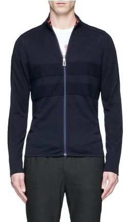 Paul Smith PS by Paul Smith Piqué panel cotton zip cardigan