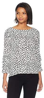 Nicole Miller New York Women's Long Sleeve Ruffle Blouse
