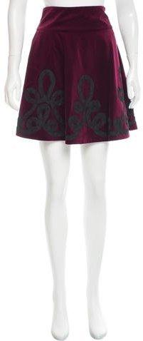 Ralph Lauren Embroidered Velvet Skirt w/ Tags
