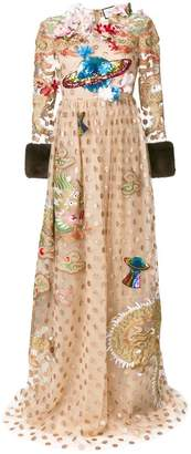 Gucci embroidered polka dot tulle gown