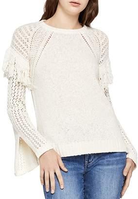 BCBGeneration Fringe-Trim Slit-Sleeve Sweater