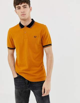 Fred Perry contrast rib pique polo in yellow