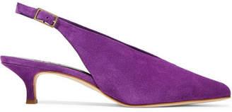Tibi Lia Suede Slingback Pumps - Purple