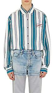 "Balenciaga Men's ""Europe"" Striped Cotton Oversized Shirt - White"