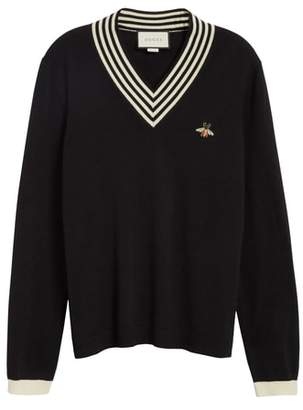 Gucci Bee Applique Wool Pullover Sweater