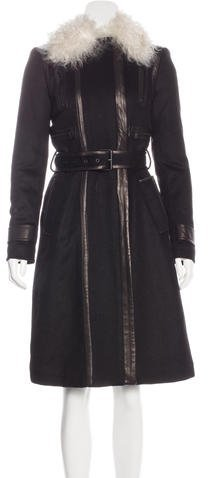 Alice + Olivia Alice + Olivia Shearling-Trimmed Wool Coat
