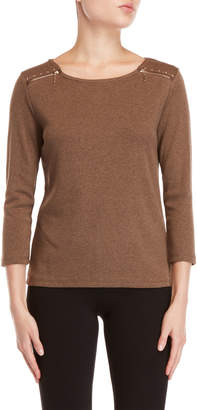 Rafaella Petite Zip Accent Long Sleeve Tee