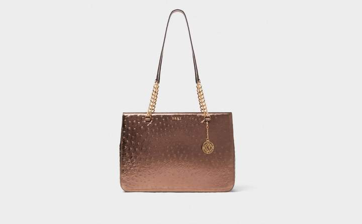 Ostrich Embossed Leather Chain Tote