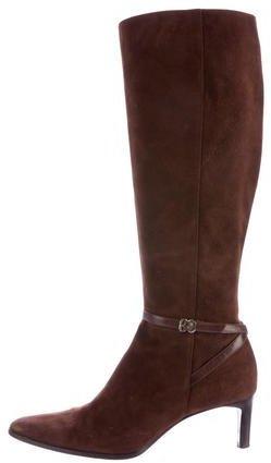 Ralph Lauren Suede Buckle-Accented Boots