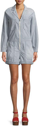 AG Jeans Rochelle Zip-Front Long-Sleeve Striped Chambray Romper