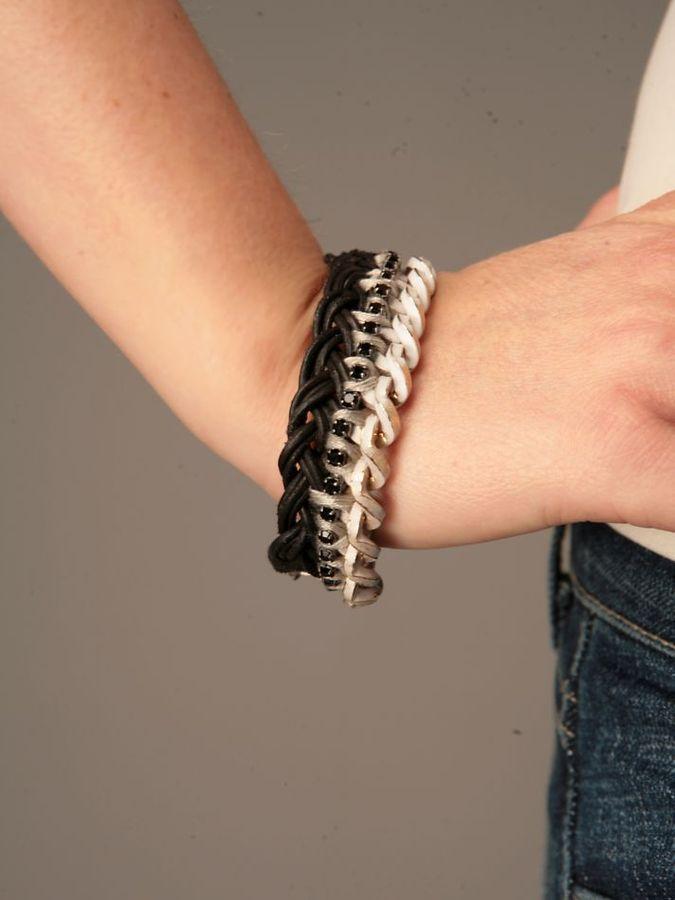 Chain Leather Gem Bracelet