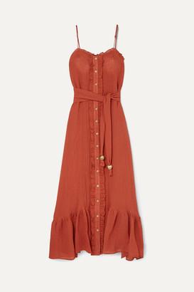 Lisa Marie Fernandez Ruffled Tiered Linen-blend Gauze Maxi Dress - Orange