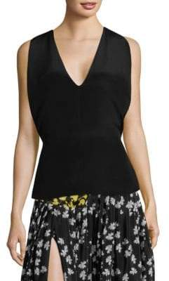 Derek Lam Sleeveless V-Neck Silk Top