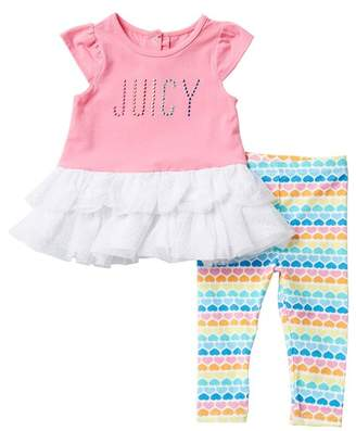 Juicy Couture Tulle Bottom Tunic & Leggings 2-Piece Set (Baby Girls 3-9M)