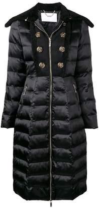 Elisabetta Franchi button embellished quilted coat