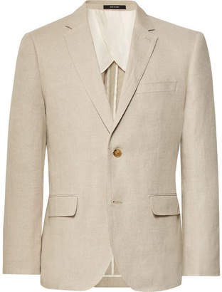 Club Monaco Beige Slim-Fit Grant Linen Suit Jacket