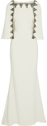Badgley Mischka Cape-Effect Embellished Crepe Gown