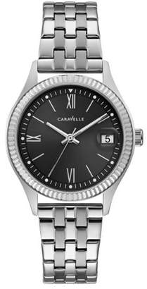 Bulova CARAVELLE Designed by Caravelle Women's Coin Edge Stainless Steel Bracelet Black Dial Dress Watch 32mm