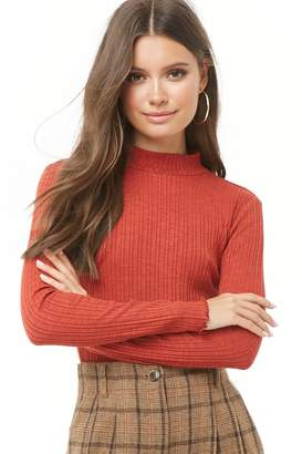 Forever 21 Lettuce-Edge Mock Neck Top