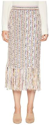 ADAM by Adam Lippes Handknit Tweed Midi Skirt with Fringe Women's Skirt