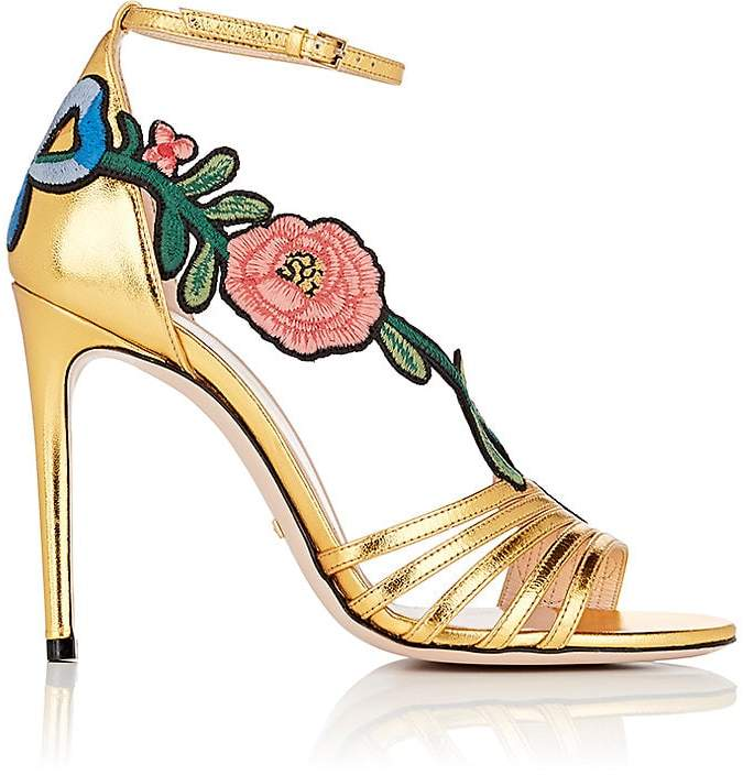 Gucci Women's Ophelia Leather Ankle-Strap Sandals