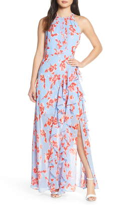 Eliza J Ruffle Halter Maxi Dress