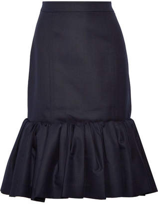 Wool-piqué Peplum Skirt - Midnight blue