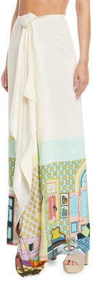 Verandah Printed Tie-Front Coverup Maxi Skirt