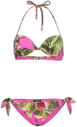 Dolce & Gabbana fig print balconette string bikini