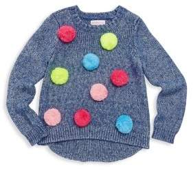 Design History Little Girl's & Girl's Pom-Pom Sweater