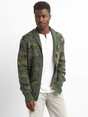 Gap Camo Shawl-Collar Cardigan Sweater