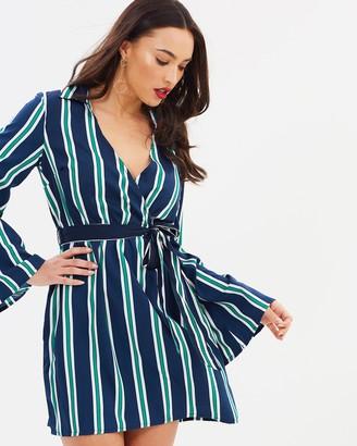 Missguided Striped Wrap Front Tie Waist Mini Dress