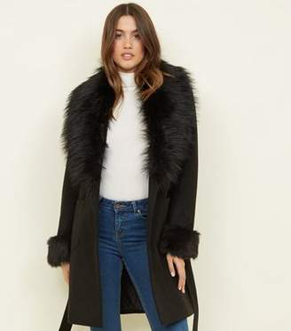New Look Black Detachable Faux Fur Trim Coat