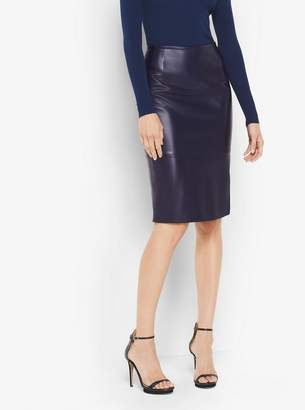 Michael Kors Plonge Leather Pencil Skirt