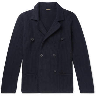 Rubinacci Slim-Fit Double-Breasted Ribbed Cashmere Cardigan
