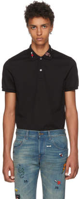 Gucci Black Embroidered Collar Polo