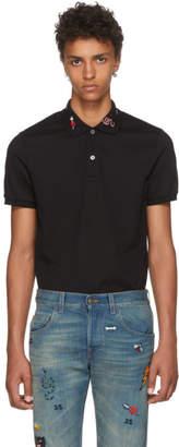 Gucci Black Embroidered Collar Polo