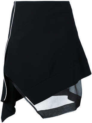 Thierry Mugler asymmetric contrast piping skirt