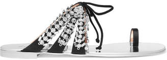 Nuvorock Crystal-embellished Suede And Satin Sandals - Silver