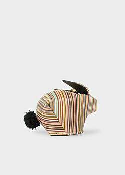 Paul Smith 'Signature Stripe' Print Leather 'Rabbit' Zip-Pouch