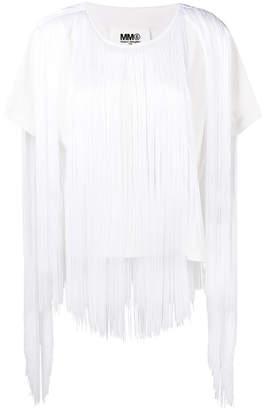 MM6 MAISON MARGIELA fringe trim T-shirt