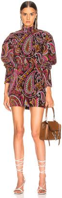 Rotate ROTATE Paisley Velvet Puff Sleeve Mini Dress in Raspberry Wine Combo | FWRD