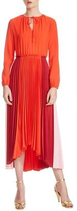 Maje Reona High/Low Pleated Dress