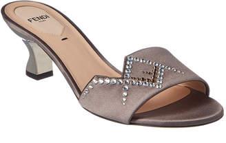 Fendi Crystal Embellished Satin Sandal
