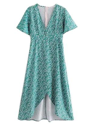 Goodnight Macaroon 'Qiana' Forest Green Floral Print Front Split V-neck Midi Dress
