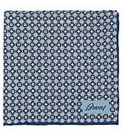 Brioni Men's Geometric-Print Silk Twill Pocket Square - Lt. Blue