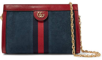 Gucci Ophidia Leather-trimmed Suede Shoulder Bag - Blue
